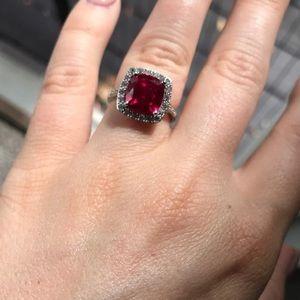 Pink Sapphire/Diamond Cushion Cut Sterling Ring